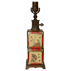 Chinoiserie Style Tea Tin Electric Table Lamp