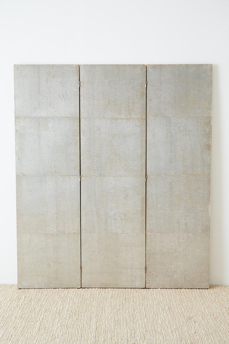 Chinese Qing Three Panel Silver Leaf Painted Screen At 1stdibs