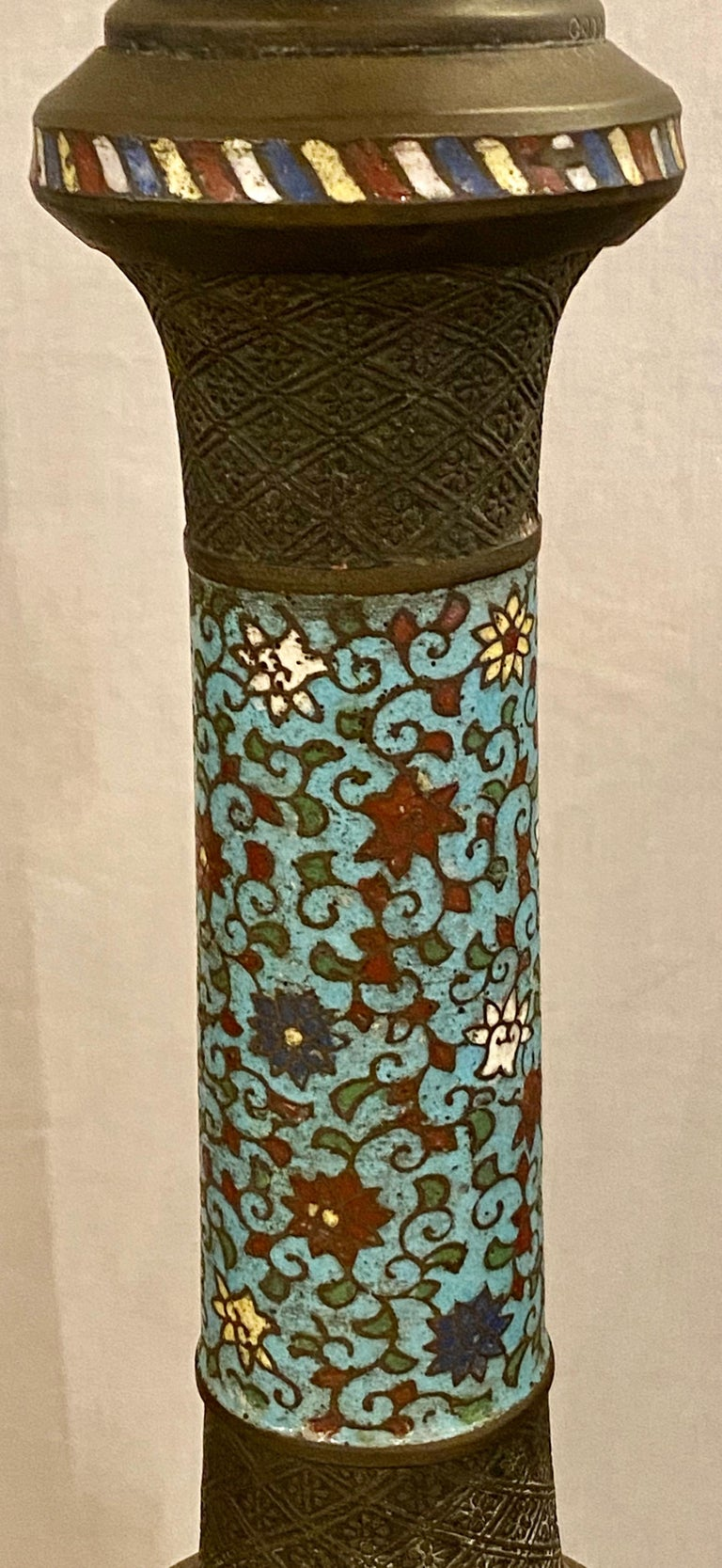 Chinoiserie Tall or Floor Lamp with Tiffany Style Stained Glass Shade For Sale 7