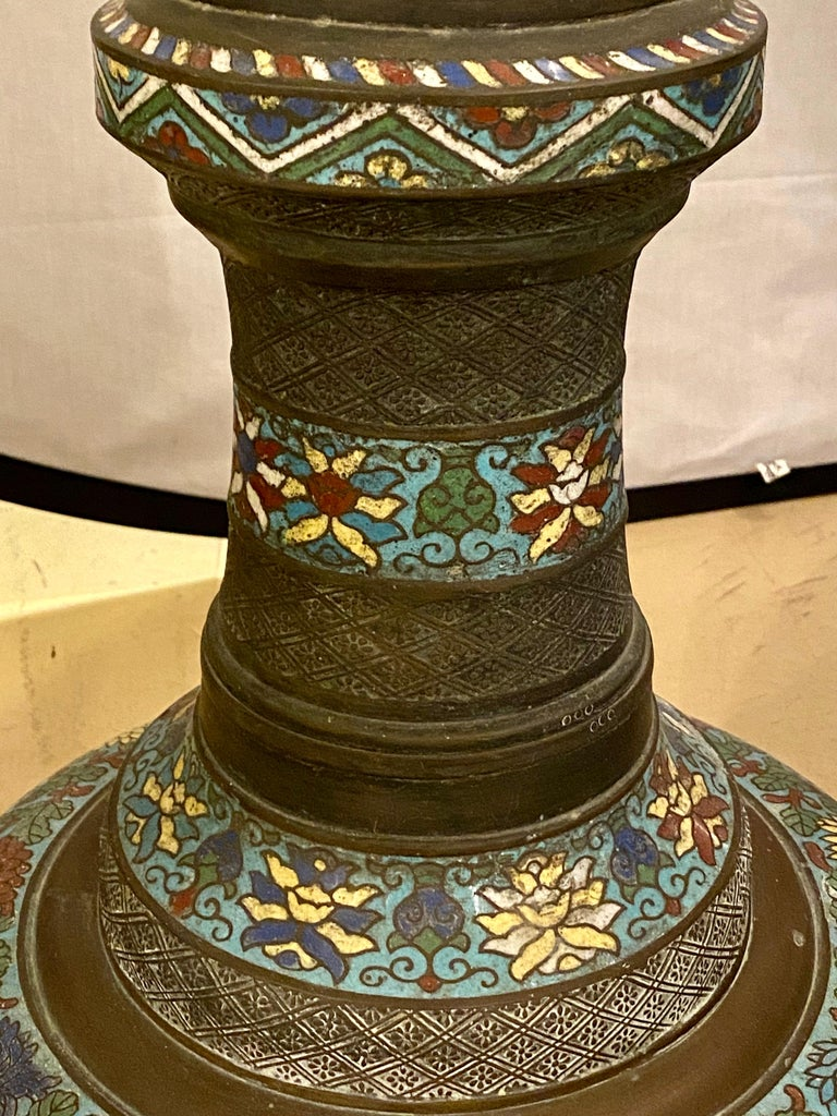 Chinoiserie Tall or Floor Lamp with Tiffany Style Stained Glass Shade For Sale 9