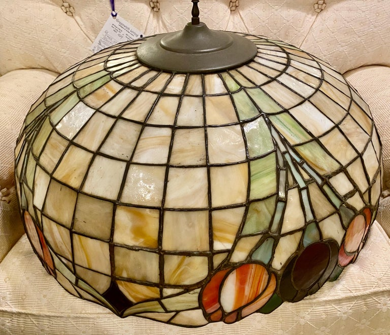 Chinoiserie Tall or Floor Lamp with Tiffany Style Stained Glass Shade For Sale 11