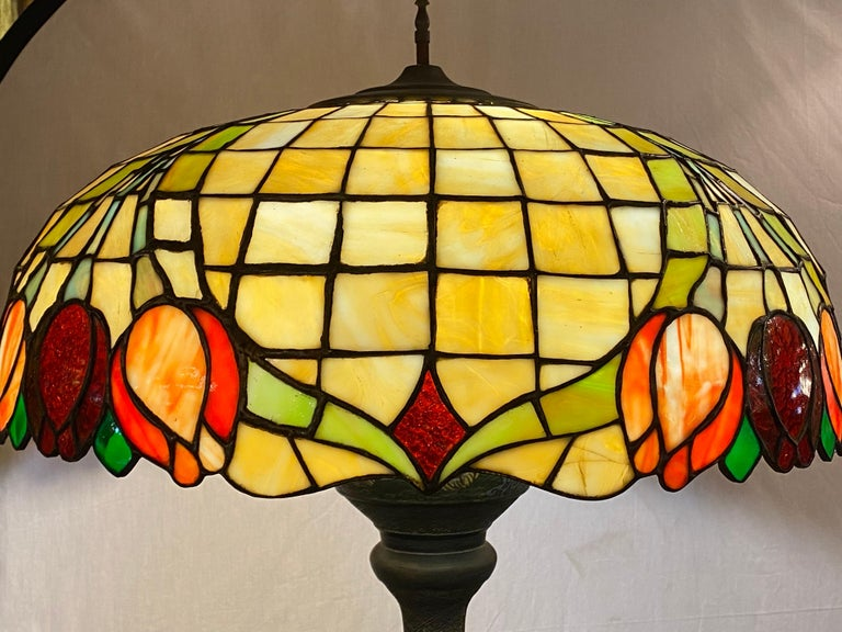 Arts and Crafts Chinoiserie Tall or Floor Lamp with Tiffany Style Stained Glass Shade For Sale