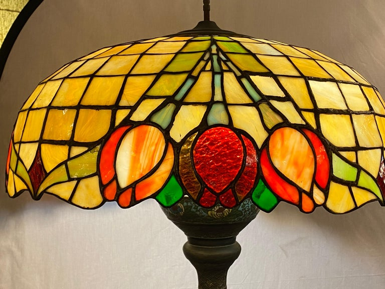 Chinoiserie Tall or Floor Lamp with Tiffany Style Stained Glass Shade In Good Condition For Sale In Stamford, CT