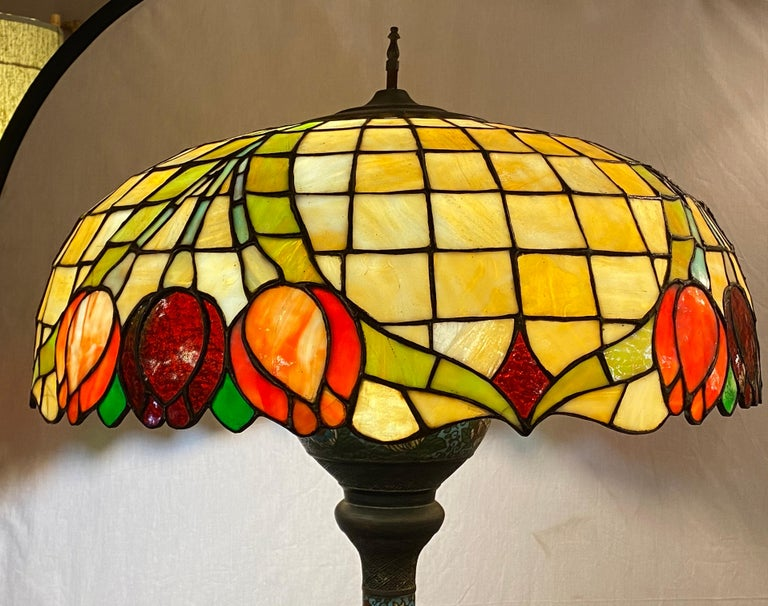 20th Century Chinoiserie Tall or Floor Lamp with Tiffany Style Stained Glass Shade For Sale