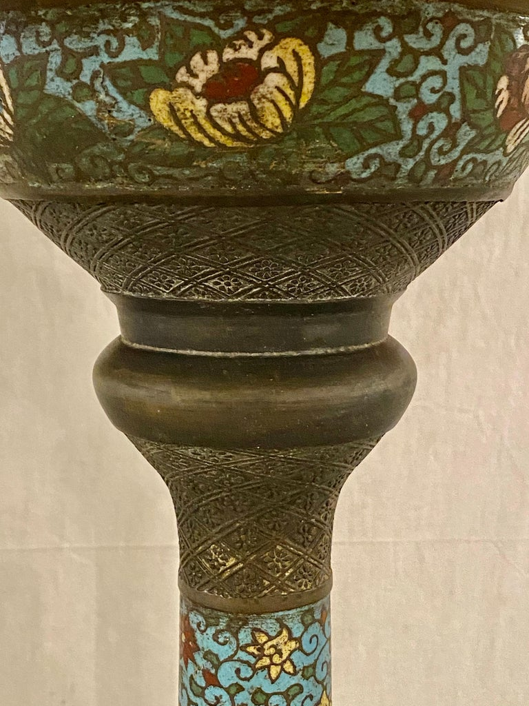 Chinoiserie Tall or Floor Lamp with Tiffany Style Stained Glass Shade For Sale 2