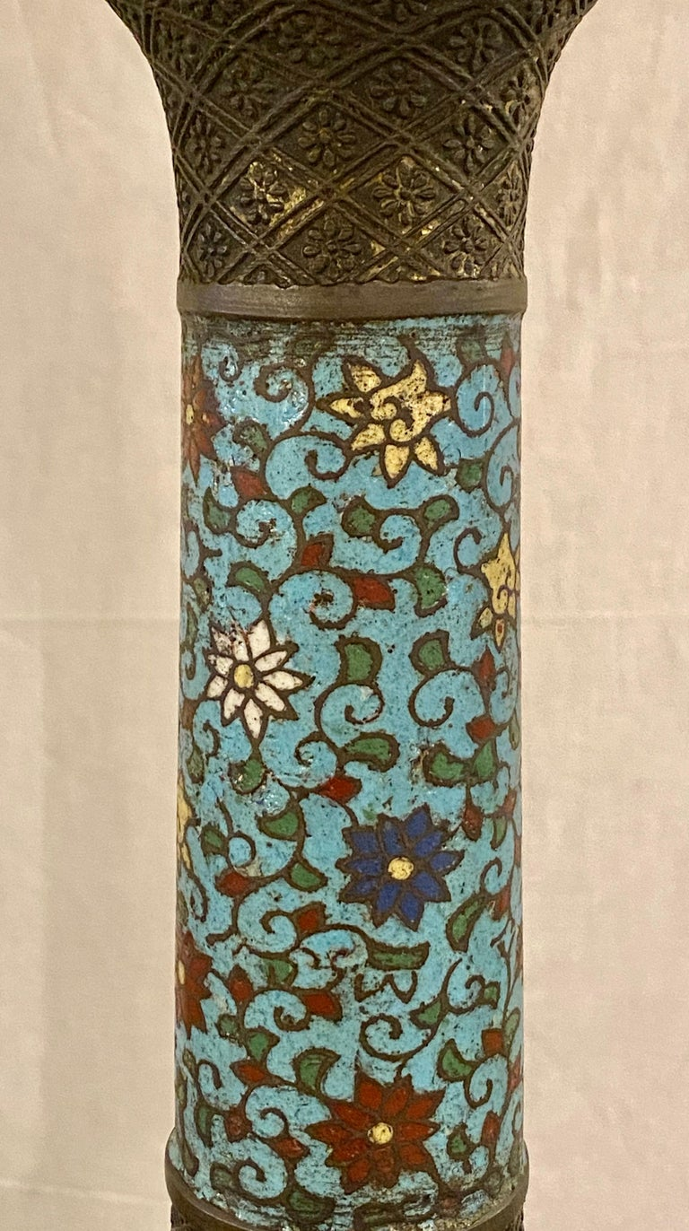 Chinoiserie Tall or Floor Lamp with Tiffany Style Stained Glass Shade For Sale 3