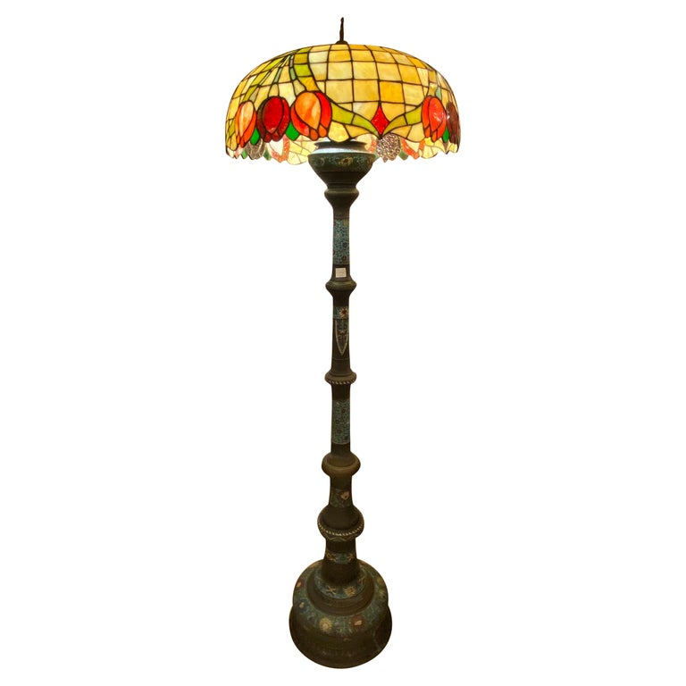 Chinoiserie Tall or Floor Lamp with Tiffany Style Stained Glass Shade For Sale