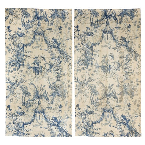 Chinoiserie Toile Hangings Curtains French Blue & White Rococo