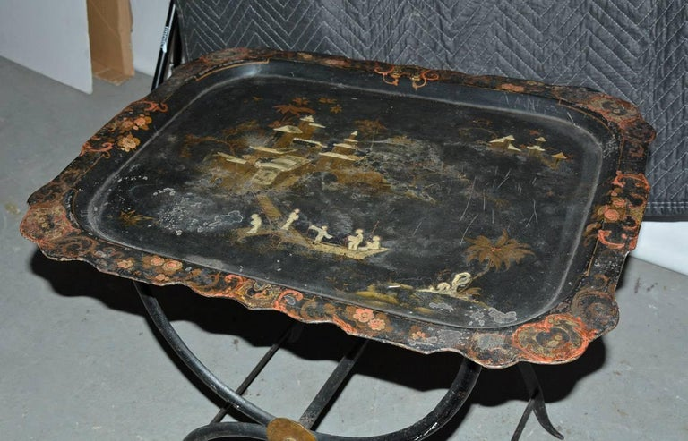 19th Century Chinoiserie Tole Tray Table For Sale