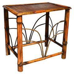 Chinoiserie Tortoise Shell Bamboo, Cane and Bentwood Side Drink Table
