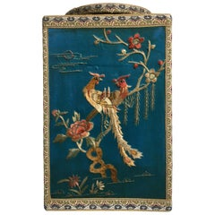 Chinoiserie Turquoise Silk Embroidered Tea Caddy, 1920s, China