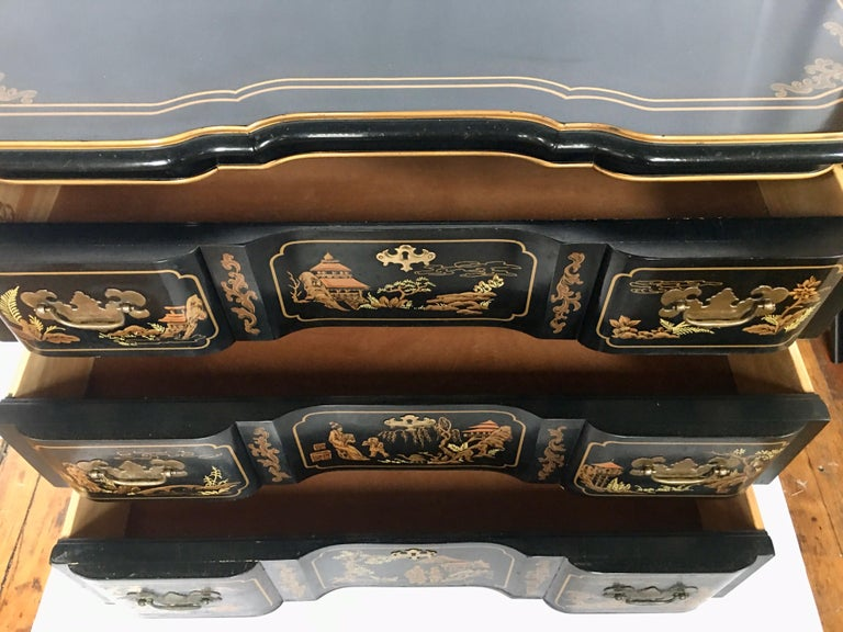 Chinoiserie Asian Style Serpentine Chest Dresser and Wall Mirror Set by Drexel For Sale 6