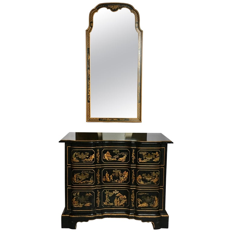 Chinoiserie Asian Style Serpentine Chest Dresser and Wall Mirror Set by Drexel For Sale