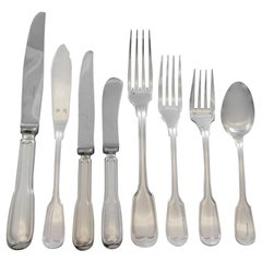 Chinon by Christofle France Silverplate Flatware Service Set 102pc Estate Dinner