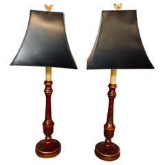 Chinroseiere Decorated Antique Candle-Prick Table Lamps with Custom Shades, Pair