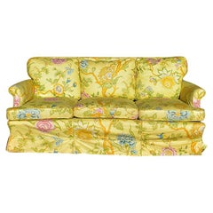 Chintz Yellow Floral Couch Slip Cover Over Red Mid Century Fabric, Seats 3