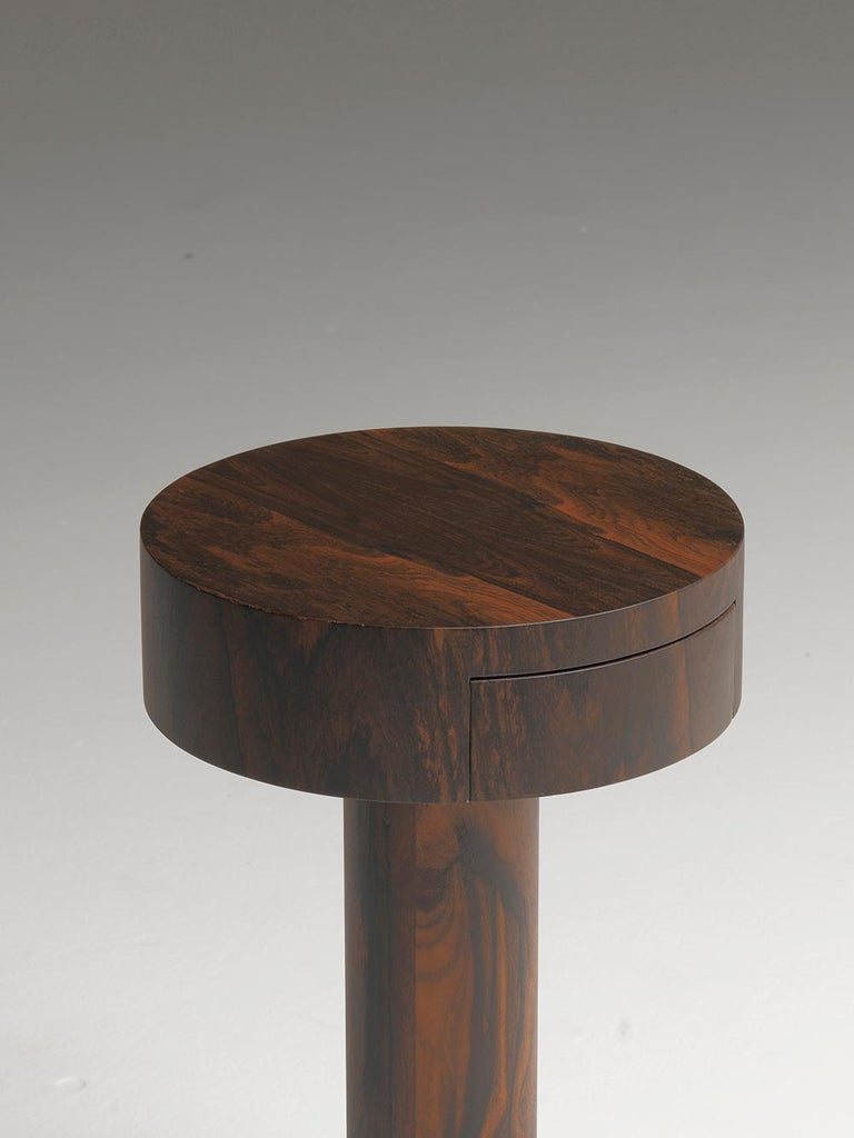 Modern Chiodino Ziricote Wood Round Side Table Designed by Aldo Cibic For Sale