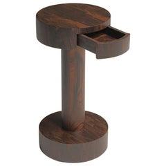 Chiodino Ziricote Wood Round Side Table Designed by Aldo Cibic