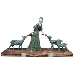 Chiparus Art Deco Figural Group 'Friends' Lady with Goats