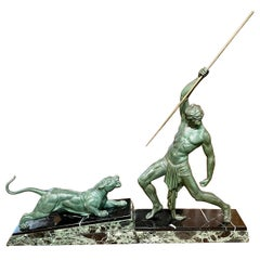 Chiparus 'The Hunter' Large Art Deco Sculpture with Panther, 1930