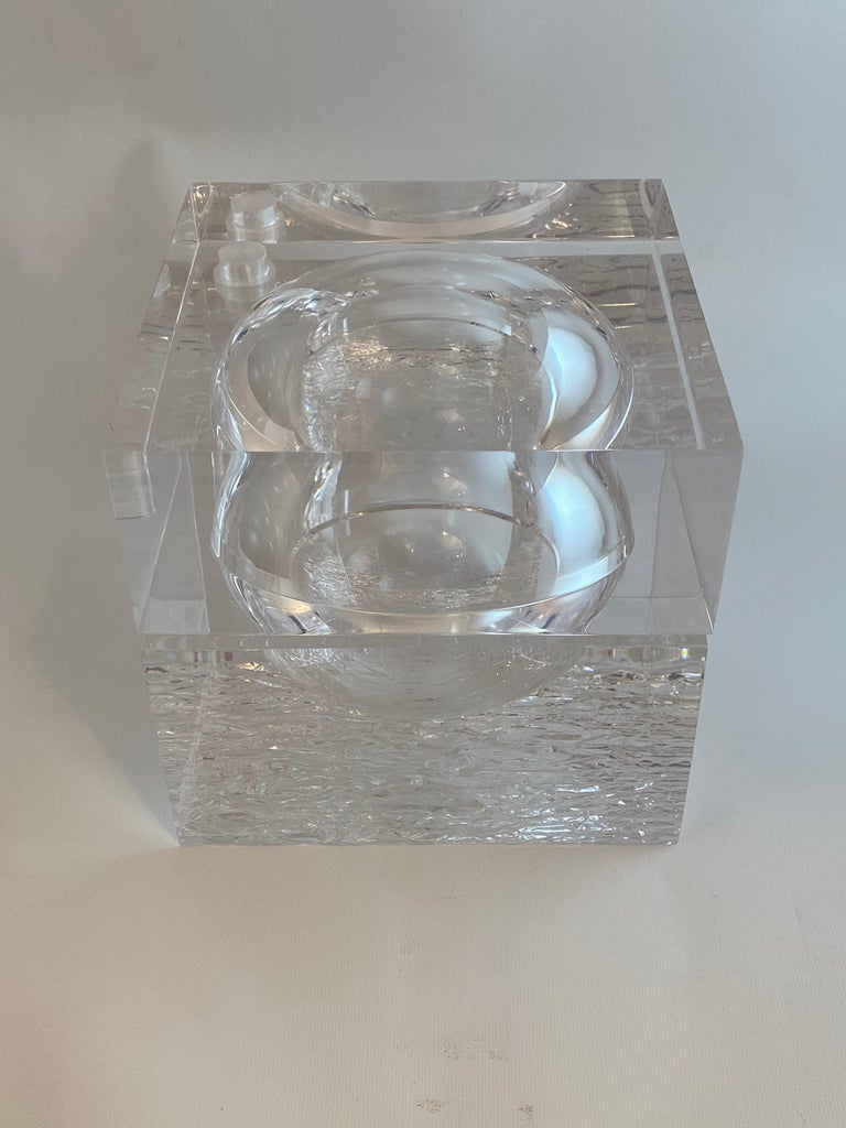 Acrylic Chipped Ice Lucite Ice Bucket For Sale
