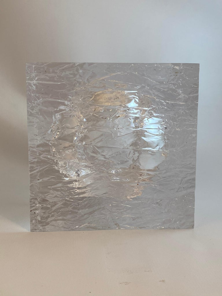 Post-Modern Chipped Ice Lucite Ice Bucket For Sale
