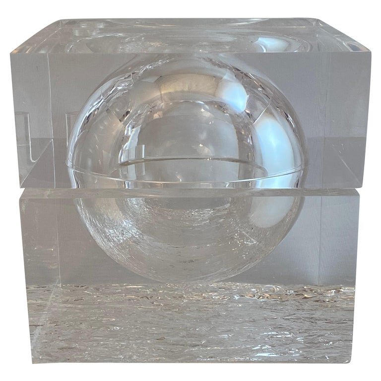 Chipped Ice Lucite Ice Bucket For Sale