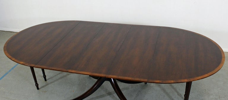 American Chippendale Baker Cherry Banded Extendable Dining Table For Sale