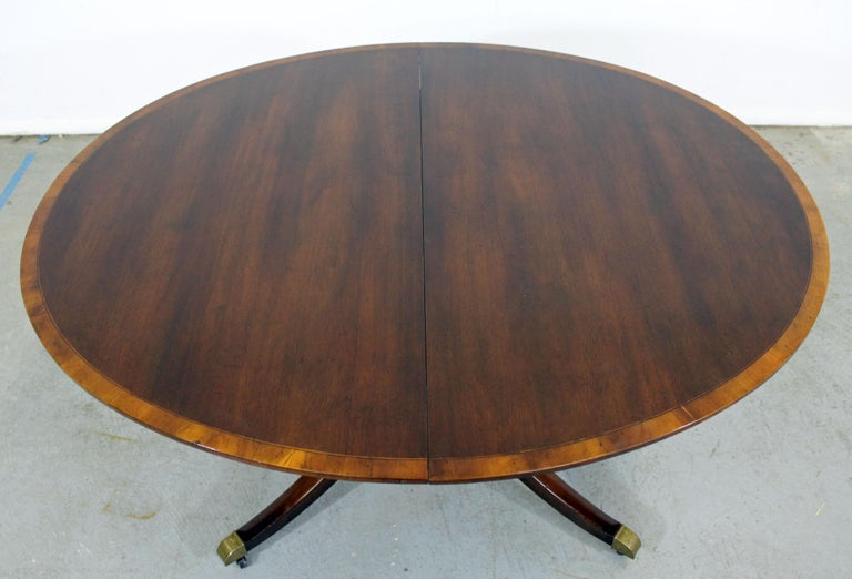 20th Century Chippendale Baker Cherry Banded Extendable Dining Table For Sale