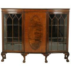 Chippendale Bookcase, Antique Walnut Bookcase, Break Front Cabinet, 1920, B1239