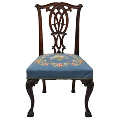 Chippendale Carved Ball & Claw Mahogany Dining Side Chair Blue Needlepoint Seat