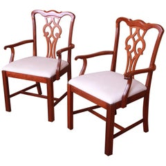 Chippendale Carved Mahogany Dining Armchairs, Pair