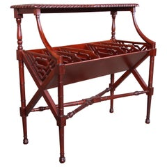 Chippendale Carved Mahogany Magazine Rack Attributed to Baker Furniture