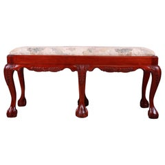 Chippendale Carved Mahogany Upholstered Window Bench