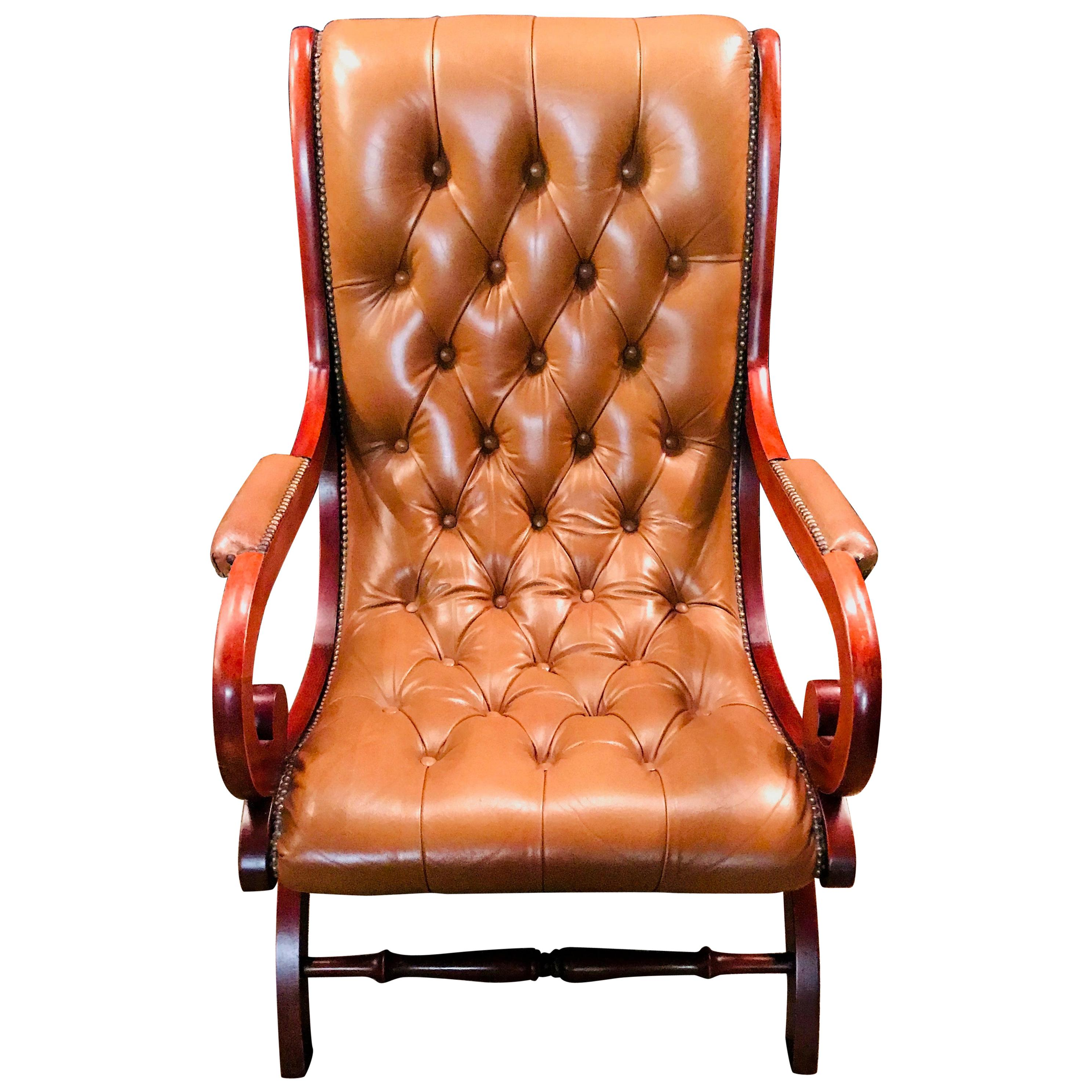 Chippendale Chesterfield Armchair Leather Brown