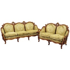 Chippendale Chesterfield Sofa Couch Armchair Baroque Antique Set