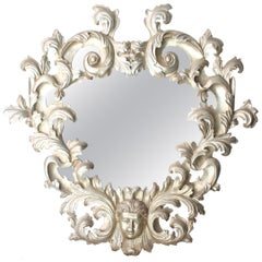Chippendale Handcrafted Oval Silver Foil Wood Mirror, 1970