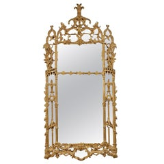 Chippendale Handcrafted Rectangular Gold Foil Wood Mirror Spain, 1970