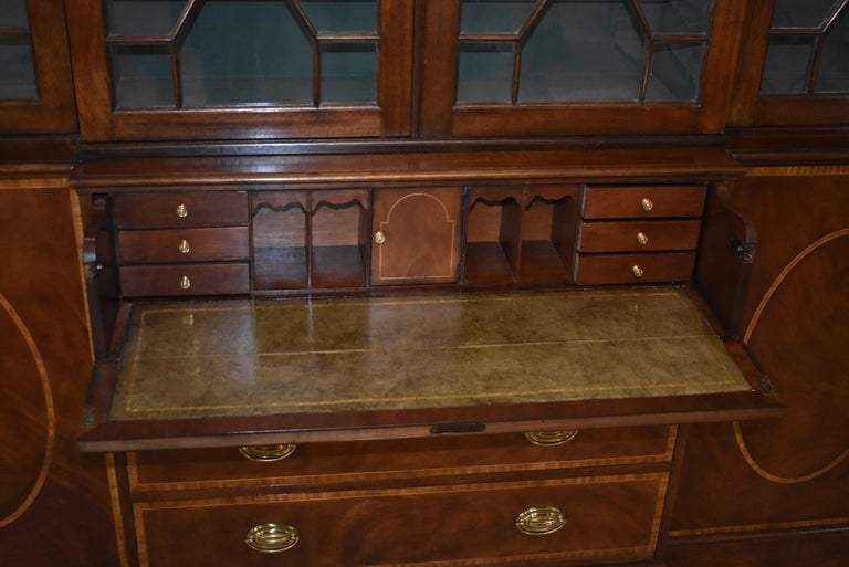 20th Century Chippendale Mahogany Breakfront Secretary Collectors Edition By Baker Furniture For Sale