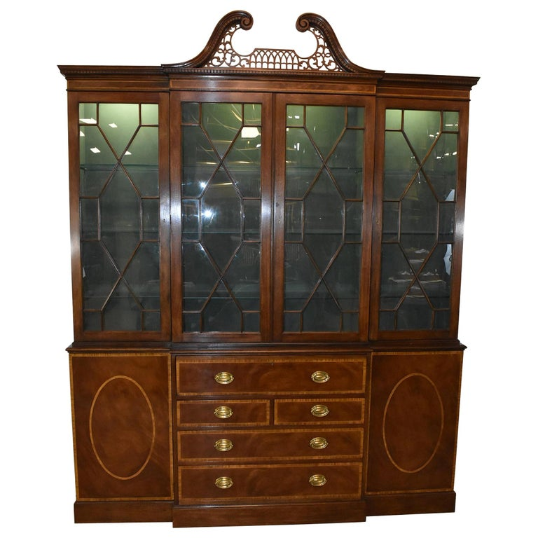 Chippendale Mahogany Breakfront Secretary Collectors Edition By Baker Furniture For Sale