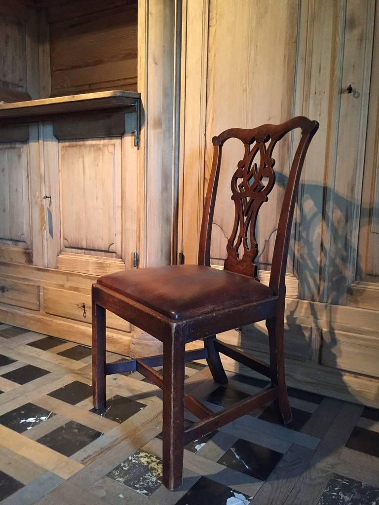 Hand-Crafted Chippendale Mahogany Chair with Leather Seat For Sale