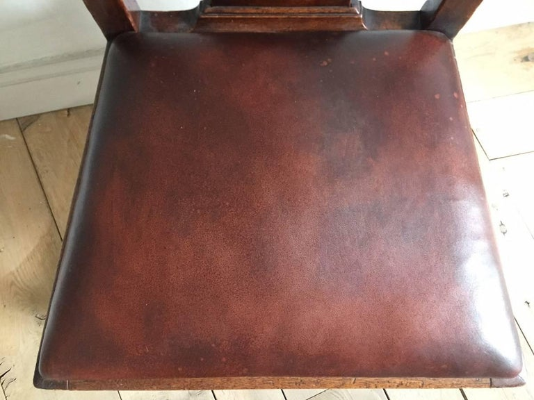 Chippendale Mahogany Chair with Leather Seat For Sale 1