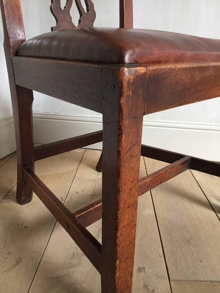 Chippendale Mahogany Chair with Leather Seat For Sale 3