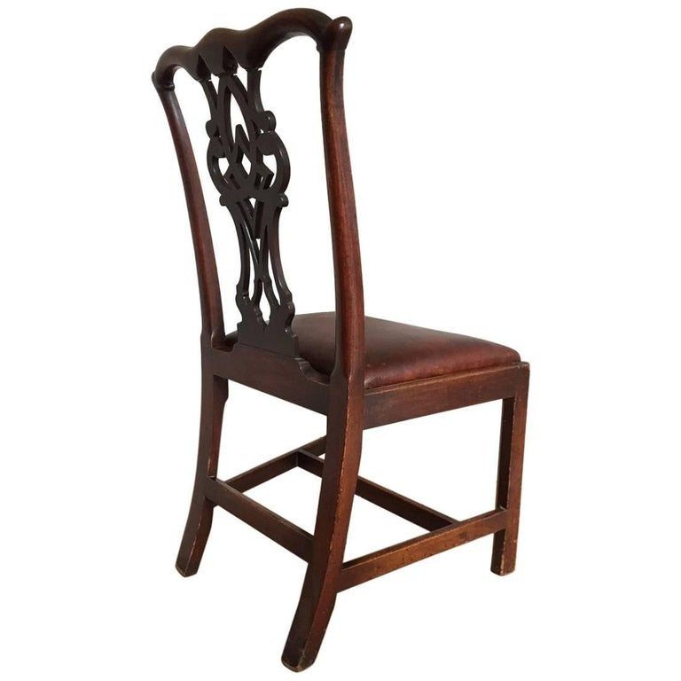 Chippendale Mahogany Chair with Leather Seat For Sale