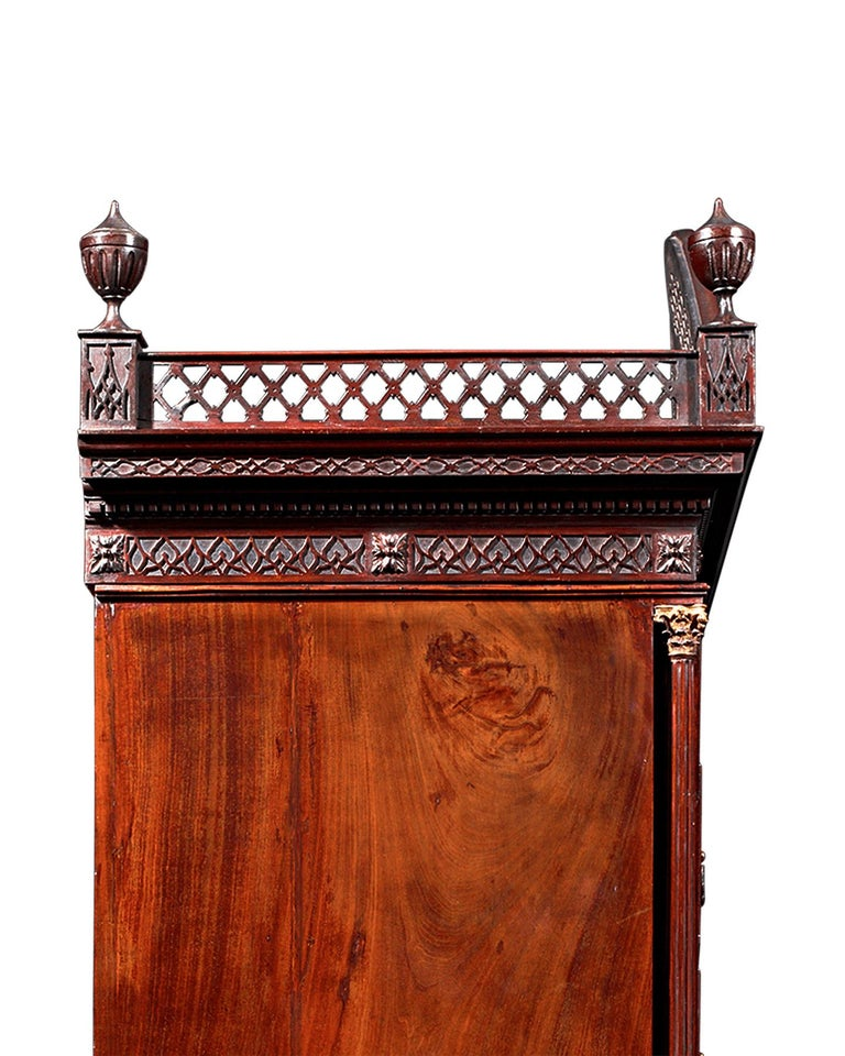Neoclassical Chippendale Mahogany Chest on Chest For Sale