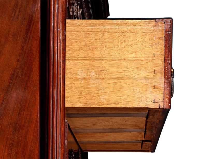 English Chippendale Mahogany Chest on Chest For Sale