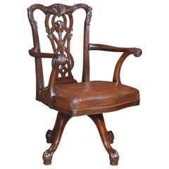 Chippendale Mahogany Revolving Desk Chair