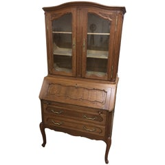 Chippendale Oak Glass Secretary with Hinged Plate