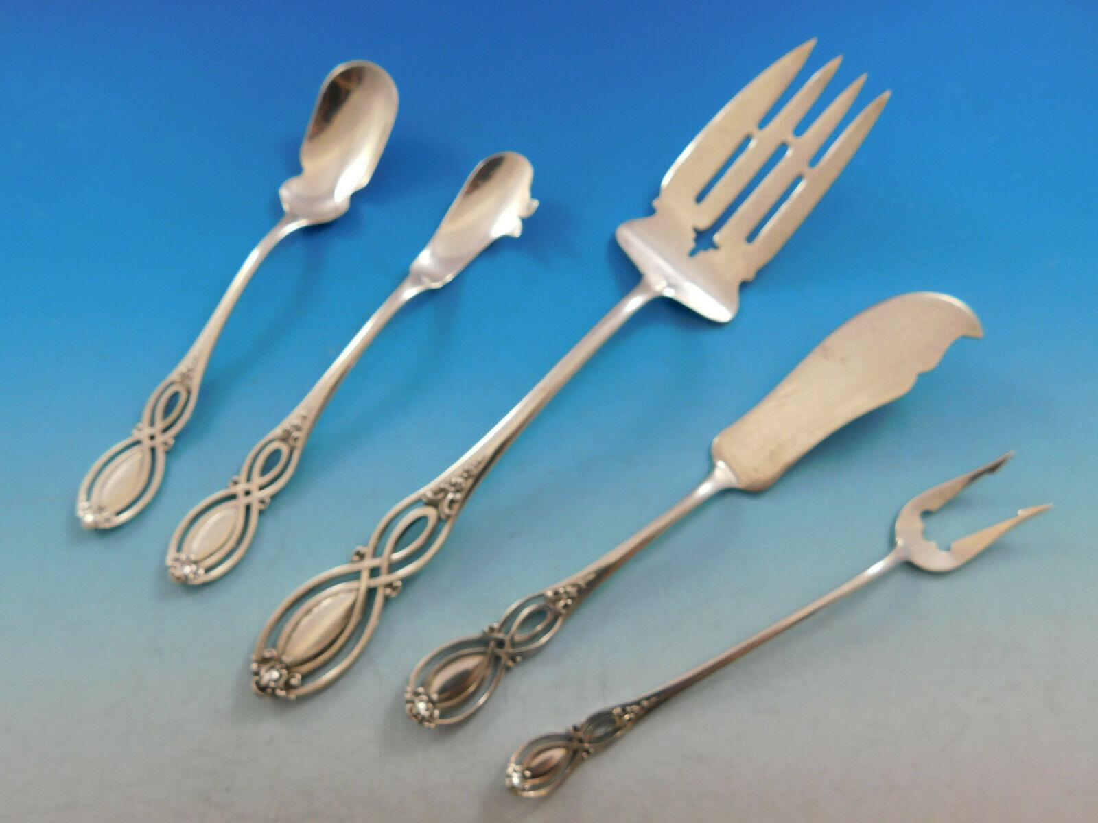 Alvin Majestic Salad Fork 4 Tine W// Bar Pierced Sterling Silver Flatware