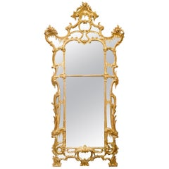 Chippendale Period Carved Giltwood Wall Mirror, circa 1780